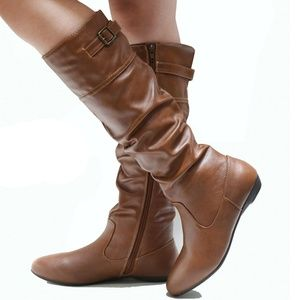 Shoes - New Tan Slim Calf Slouchy Knee High Riding Boots